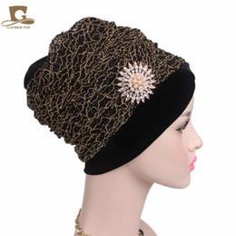 Wholesale Net Beanies - 2017 new women soft mesh net Velvet nigerian Turban with brooch Long Head Wraps Luxury Hijab HeadScarf Head scarf Turbante