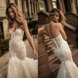 Wholesale Heavily Beaded Lace Gowns - 2017 berta bridal corset wedding dresses sweetheart neckline bustier heavily embellished bodice long train mermaid wedding gowns