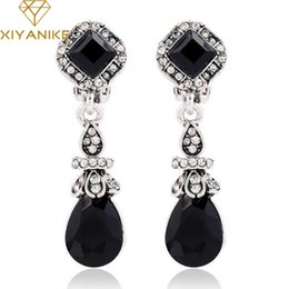 Wholesale New Gem Earrings - 2017 New Luxury Vintage Earrings For Woman Pendant Drop Turkish India Black Gem Rhinestone Earrings boucle d'oreille E1133