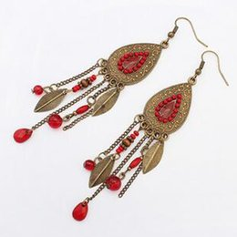 wholesale beads usa Coupons - Retro Bohemian Oval Leaf Mulit 4 Colors Tassel Earrings European USA Fashion Wholesale Beads Earrings Free Shipping