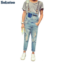 Wholesale Ankle Zipper Skinny Jeans - Wholesale- Sokotoo Men's summer style pockets denim overalls Hole ripped crop jeans for man Ankle length Jumpsuits Free shipping