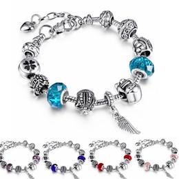 Wholesale Titanium Fishing Hooks - Vintage European Beads Charm Bracelet Women Rhinestone DIY Love Heart Crystal Snake Chain Bracelets Silver Jewelry