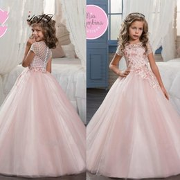 Wholesale Cheap Back Bow Dress - Princess Pink Short Sleeve Flower Girl Dresses 2017 New Tulle Sheer Neck Zipper Back First Communion Dresses Cheap