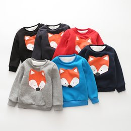 Wholesale Hooded Baby Sweater - Winter warm Sweatshirt for children Baby Sweater Ins Fox Winter Inner Lamb wool Thicken Baby Pullover Outwear Soft Comfortable 2017 Winter
