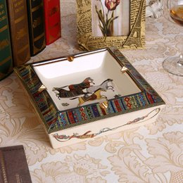 Wholesale Porcelain Home - Porcelain ashtray ivory porcelain 2 sizes god horses design square shape home decoration supplies housewarming luxury business gifts