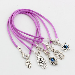 Wholesale Fashion Luck Bracelets - Hot ! 100pcs Fashion Antique silver Zinc Alloy Mixed Kabbalah Hand Charm purple String Good Luck Bracelets