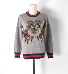 Wholesale Kawaii Knitting - Luxury Chic Cat Embroidery Sequins Kawaii Sweater Women 2017 Fall Knitted Pullover Jumper Runway Sweaters Tops pull femme