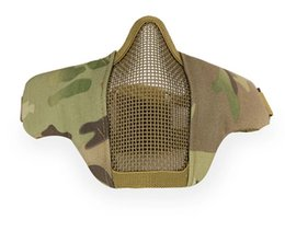 Wholesale Paintball Mask Airsoft - HOT Tactical Paintball Masks Protective Airsoft Mask Outdoor Hunting Half Lower Face Metal Steel Net Mesh Mouth Half Face Mask