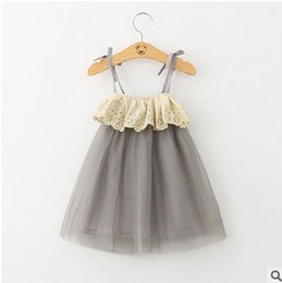 Wholesale Girls Tutu Shoulder Dress - Kids dresses fashion girls hollow out falbala dew shoulder suspender dress summer children tulle knee length princess party dress T4635