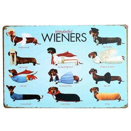 Wholesale A1 Boards - Wholesale- WONDERFUL WIENERS Metal Tin Plaque Dog Decor Sign Vintage Puppy Board for pet birthday party in playroom home LJ6-1 20x30cm A1