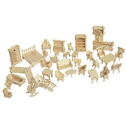 Wholesale 3d Wooden Dollhouses - uzzles Magic Cubes Puzzles 34pcs set 1:24 Dollhouse Mini Furnitures Children's Educational Wooden Doll Furniture Toy,3d Woodcraft Puzzle ...