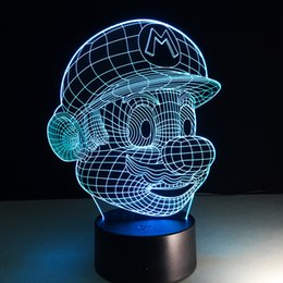 Wholesale Night Light Colors - Christmas Decoration Light Super Mario 3D Optical Night Light 7 Colors Changeable USB LED 3D Touch Night Light Acrylic Panel Light