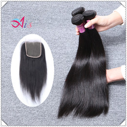 Wholesale Mongolian Weave Prices - Cheap Price Straight Hair Weft 1 pcs 4*4 Closure With 3pcs Straight Human Hair Weaves Weaving Extensions Free Tangle Silky Straight Hair