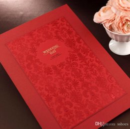 Wholesale Red Guest Book - Red Laser Cut Flower Wedding Party Guest Books Guestbook 35*25