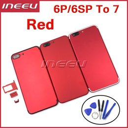 Wholesale Houses Color - New Full Red Color Housing Housing For iPhone 6 plus Like 7 Aluminum Metal Back Battery Door Cover Replacement for 6s plus