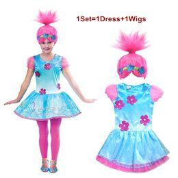 Wholesale Party Wigs Set - Trolls Cosplay Clothes Dress+Wigs Set Trolls Dress For Girls Party Skirt Net Yarn Sleeve For Girls Summer Dress Girls Cosplay Skirt LA386