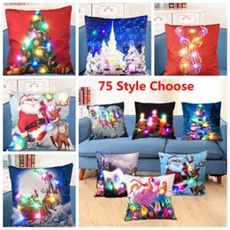 Wholesale Wholesale Reindeer Decor - LED Light Luminous Pillow Case Led Light Christmas Pillowcase Pillow Cover Sofa Car Decor Cushion Santa Claus Reindeer VS Sequins YW90