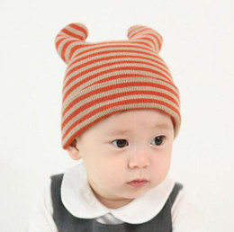 Wholesale Era Hat Caps - New Fashion Beautiful Era Infant Cotton Newborn Baby Kid Cat Crochet Stripe Caps Ear Beanie Baby Children Cap free shipping