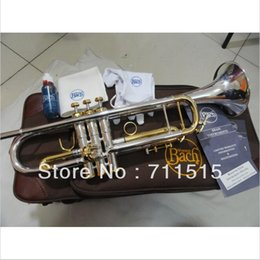 Wholesale Brass Imports - wholesale Bach Small Silver Plated Trompeta Adjustment with 965 Tube Imported Technology Silver Brass Instruments Bb Trumpet Imported