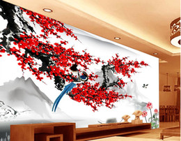 Wholesale Back Roll Painting - modern wallpaper for living room Chinese style plum blossom ink painting wall modern wallpaper for living room