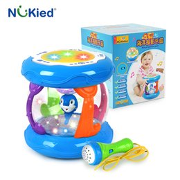Wholesale Play Series - NUKied Kids Ocean Series Multifunctional Musical Instrument Hand Drums Toys With Light Sound Plastic Early Education Baby Toy