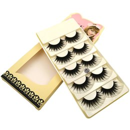 makeup black hair Promo Codes - S21 S2 5pairs set Thick False Eyelashes Extension Professional Plastic Cotton Stalk Black Full Strip False Lashes Synthetic Hair MakeUp Tool