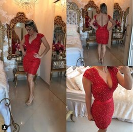 Wholesale Detailed Back Evening Gown - 2017 Short Red Lace Cap Sleeves Barbara Melo Prom Dresses Allover Applique beaded detail and Sheer illusion Back Formal Evening Gowns