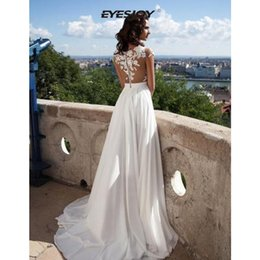 length chiffon sleeve wedding dress prices - Luxury Crystal Wedding Dresses Lace Cathedral Lace-up Back Bridal Gowns Elegant A-Line Chiffon Beach Wedding Dresses Custom Made Sexy Gowns