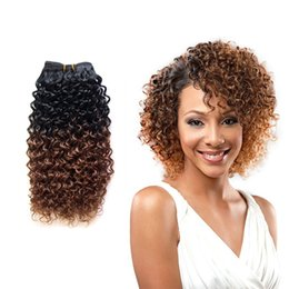 Wholesale Omber Hair Extensions - 8-18 Inch Jerry Curly Hair Extension Omber Curly 1 Piece 100g pc Bundles Hair Weft High Quality