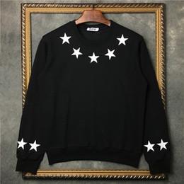Camisolas pu on-line-2019 moda outono e inverno mens star imprimir hoodies esportes casuais camisola de manga longa pu couro estrela impressão camisolas designer hoodi