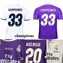 Wholesale Football Jersey 16 - 2016 2017 Champions League Finals Soccer Jersey 16 17 Real Madrid away Purple Soccer Jerseys for 3 Jun Ronaldo Football uniform