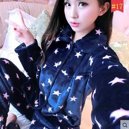 Wholesale Ladies Polyester Pajamas - New Winter Pajamas Flannel Warm Pajamas Two Piece Long-Sleeved Suits Autumn Lady Lovely Coral Fleece Cardigan Thickened Size Indoor Clothing