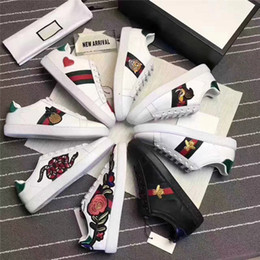 Wholesale White Embroidered Flower Appliques - Embroidered small white bee small white shoes female summer genuine leather flower star pearl flat belt men women shoes size 36-44