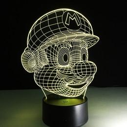 2019 luzes mario Super Mario Eu Te Amo 3D Optical Night Light DC 5 V USB de Carregamento 5a Bateria Atacado Dropshipping Frete Grátis luzes mario barato