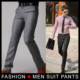 2019 мужская мода серые брюки Wholesale- New Men's Suit Pants Flat Business Casual Trousers Slim korean Fashion Dress Pants,Grey/Black 28-33 Free shipping дешево мужская мода серые брюки