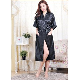 Wholesale Hot Women Nightdress - Sexy Summer Satin Hot Robe Nightdress Women Robe 2016 New Sale Kimono Silk Sexy Satin 2016 Robe High Quality Night