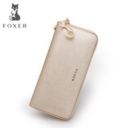 Wholesale Cellphone Purses - FOXER Brand Women Leather Wallets Luxury Female Purse Women's Clutch Wallet & Credit Bag & Cellphone Bag For Women 0H1
