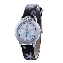 Wholesale Crown Leather Watch - 100 pcs Fashion Kids Watch Frozen Cartoon Watches Quartz Watches Leather Wristband Rhinestone Crown Anna Elsa Wristwatch For Gilrs Gift