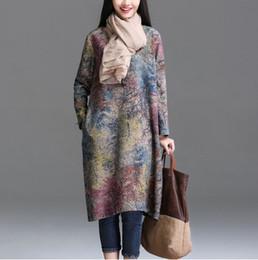 Wholesale Loose Short Dress - 2017 Autumn Arts Style Women long sleeve Dress Loose Casual Long Dress High Quality Vintage Print Dresses Plus Size