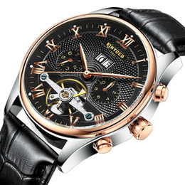 Wholesale Stainless Steel Black Automatic Skeleton - 2017 Kinyued Skeleton Tourbillon Mechanical Watch Automatic Men Classic Rose Gold Leather Mechanical Wrist Watches Reloj Hombre