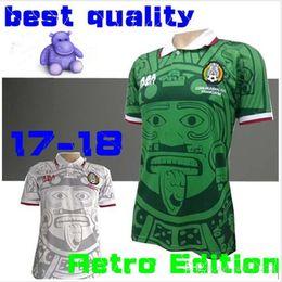 Wholesale Football Shirt Logos - 1998 MEXICO RETRO VINTAGE BLANCO top thai quality soccer jerseys uniforms Football Jerseys shirt Embroidery Logo camiseta futbol