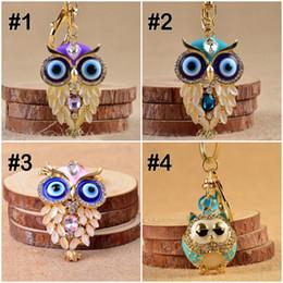 Wholesale Hawk Rings - 2017 Adorable Rhinestone Crystal Owl Night Hawk Keychain Key Ring Key Chain Girly Hostess Gift For Girl Women 4 Styles C3L