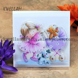 Wholesale Rubber Carts - Wholesale- Girl Baby Cart Cat Scrapbook DIY photo cards account rubber stamp clear stamp transparent stamp 9x9cm KW6122508