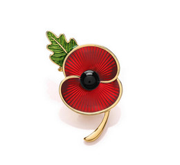 "Wholesale Red Poppy Brooch - Wholesale- 2"" Red Enamel Gold Tone RBL Poppy Brooch Flower Pin with Leaf Souvenir For Remembrance Day Gift"
