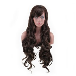 Wholesale Sexy Wig - WoodFestival sexy womens brown wig long curly synthetic fiber wigs for black women deep wave hair wigs natural cheap hair wig 85cm