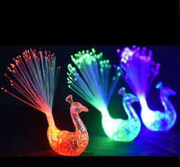 fiber optic light toy Promo Codes - LED Flashing Peacock Fiber Optic Finger Lights Rings for Raves or Party FavorParty Nightclub Color Rings Optical Fiber Lamp Kids Children
