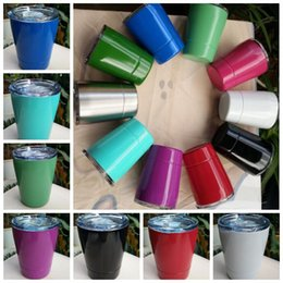 Wholesale Cocktail Steel - 10 Colors 9oz Tumbler Stainless Steel Wine Glass Cocktail Glasses Double Wall 9oz Coffee Drinkware Mugs With Straw And Lid CCA6318 50pcs