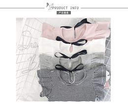 Wholesale Baby Korean Coat - girl shirt korean stripe cotton T-shirt custom baby girls fly sleeve bow ladies temperament coat summer girl tshirt