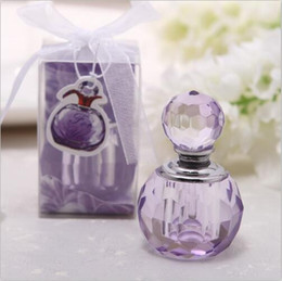 Wholesale Purple Pink Baby Shower - K9 crystal handicrafts perfume bottle shape baby shower gift purple and pink wedding favors decoration(Can not hold liquid)