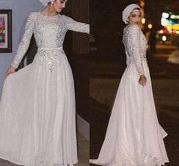 Wholesale Maternity Tops For Winter - Muslim Evening Dresses With Long Sleeves bling Beading Waist Top A-line Chiffon white Arabic jewel neck formal Evening Dresses for Party